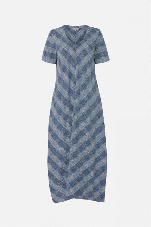 Sahara Clothing CHAMBRAY COTTON CHECK DRESS