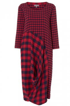 CRINKLE GINGHAM BUBBLE DRESS
