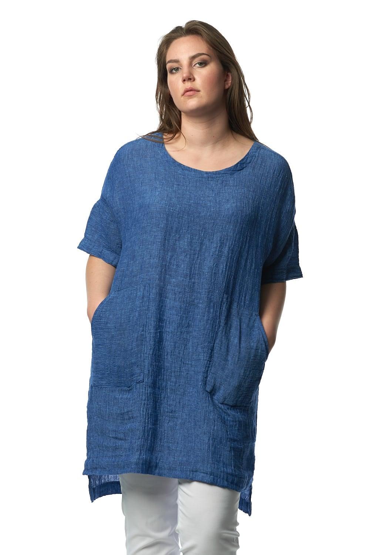 Sahara clothing crinkle linen tunic sahara clothing from for Womens denim tunic shirt