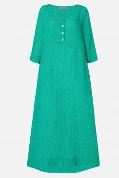 CRINKLE LINEN V NECK DRESS