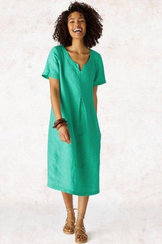 Sahara Clothing CROSS DYE LINEN BUBBLE DRESS