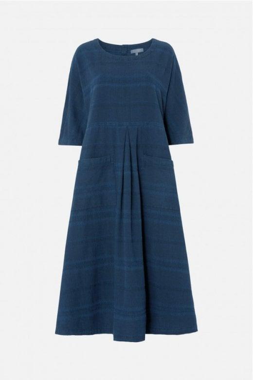Sahara Clothing DENIM TEXTURED STRIPE DRESS