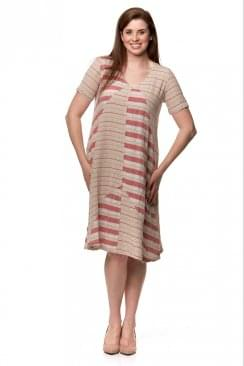 DOUBLE STRIPE LINEN DRESS