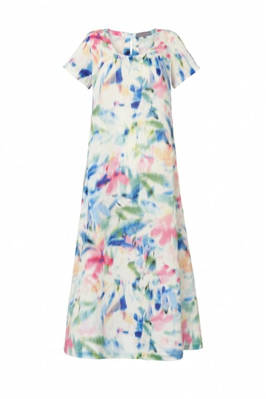 Sahara Clothing FLORAL PRINT LINEN DRESS