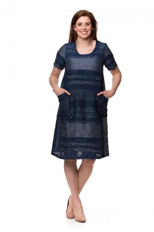 Sahara Clothing INDIGO STRIPE LINEN DRESS