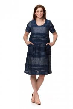 INDIGO STRIPE LINEN DRESS