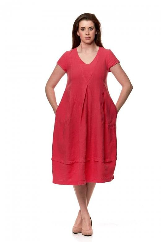 Sahara Clothing LINEN V NECK BUBBLE DRESS