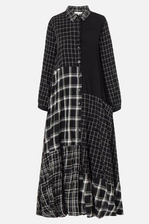 Sahara Clothing MONO PATCH CHECK SHIRT DRESS
