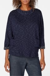 NIGHT SKY JERSEY COWL TOP