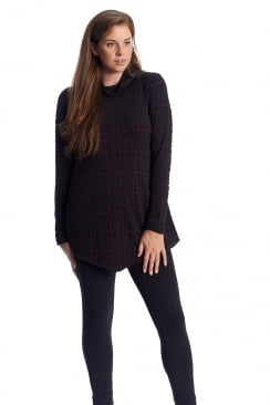 PLAID JERSEY POINT TUNIC