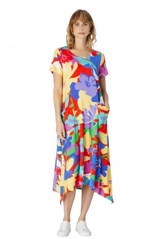 Sahara Clothing RETRO FLORAL JERSEY DRESS