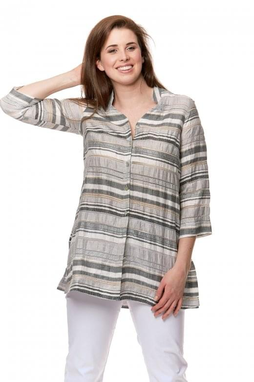 Sahara Clothing SHIMMER STRIPE NEHRU SHIRT
