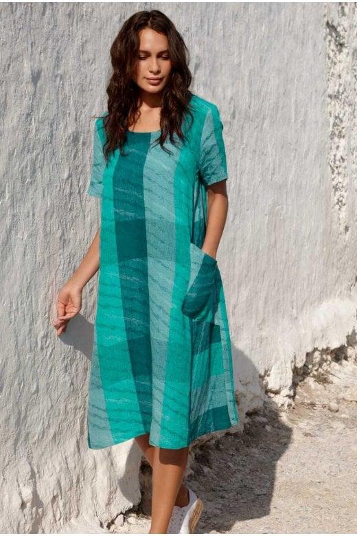 Sahara Clothing STRIPE WAVE JAQUARD DRESS