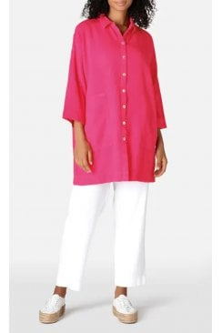 TEXTURED CERISE PINK LINEN LONG SHIRT