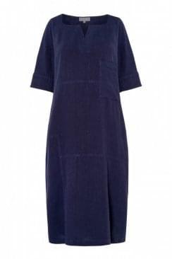 TEXTURED LINEN PANEL DRESS