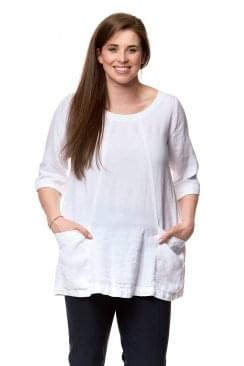 TEXTURED LINEN POCKET TUNIC