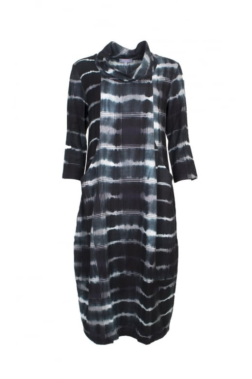 Sahara Clothing TIE DYE CHECK COWL DRESS