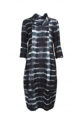 TIE DYE CHECK COWL DRESS