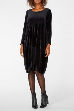 VELVET JERSEY BUBBLE DRESS