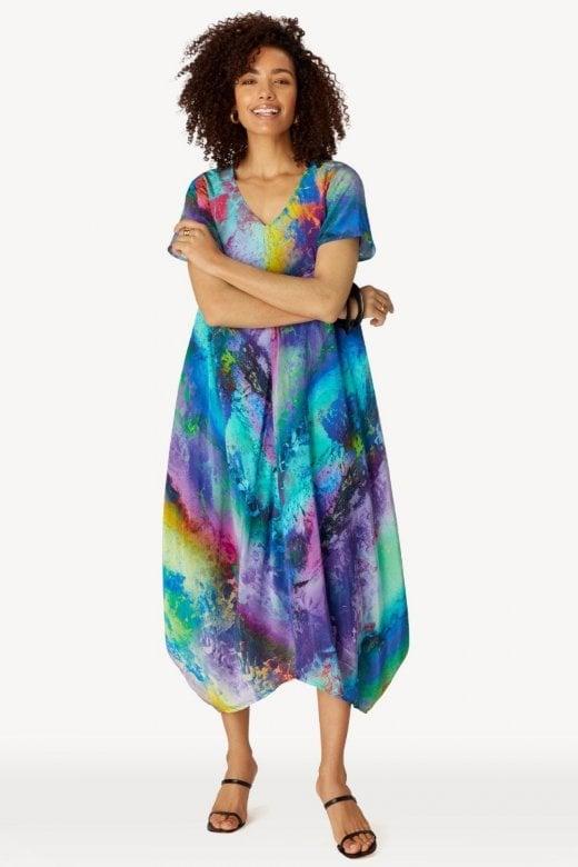 Sahara Clothing VIVID COSMOS PRINT DRESS