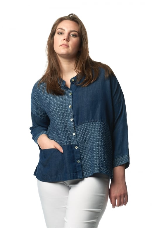 Sahara Clothing WAFFLE DENIM LINEN BOX SHIRT