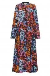 WINTER FLORAL CREPE DRESS