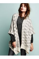 BRUSHED WOOL PONCHO STYLE CARDIGAN