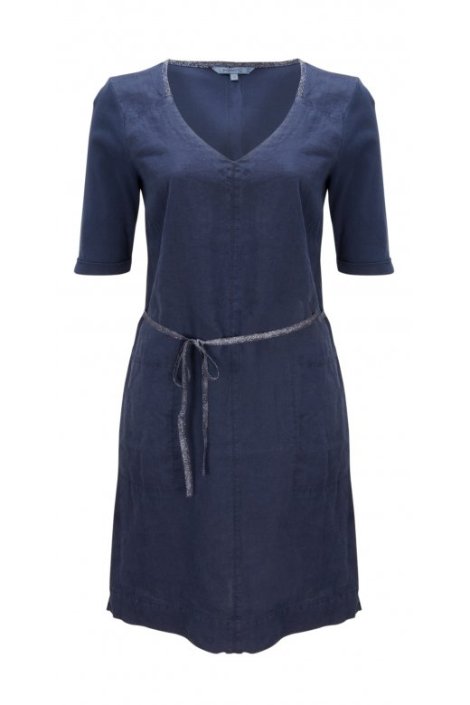 1bc8cbe7a9a9 Short sleeve garment dye linen dress from Sandwich clothing. With  contrasting glints of sliver ruunning throughout the applique details for a  glamorous fi